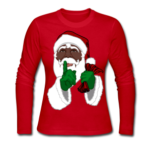 African Santa Clause Shirts Women's Black Santa Shirts - Women's Long Sleeve Jersey T-Shirt