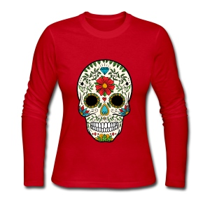 Sugar Skull - Day of the Dead #8 - Women's Long Sleeve Jersey T-Shirt