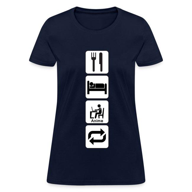 Eat, Sleep, Anime, Repeat Vertical T-Shirt (Womens)