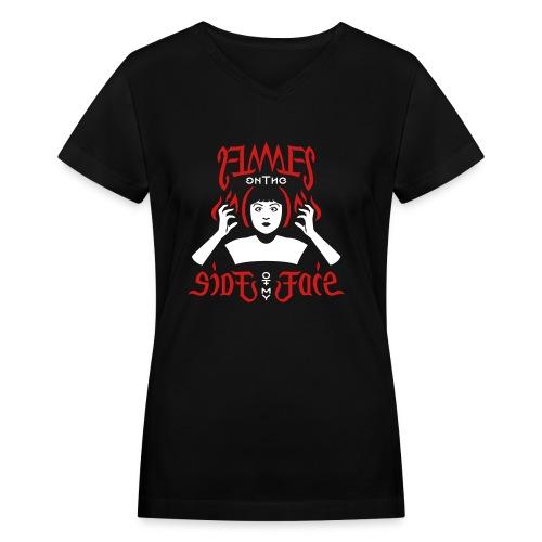 Flames Face women's V-neck - Women's V-Neck T-Shirt