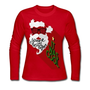 The Hipster Santa's Beard - Women's Long Sleeve Jersey T-Shirt