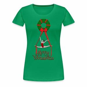 Aerial Christmas Wreath - Women's Premium T-Shirt