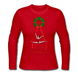 Aerial Christmas Wreath - Women's Long Sleeve Jersey T-Shirt