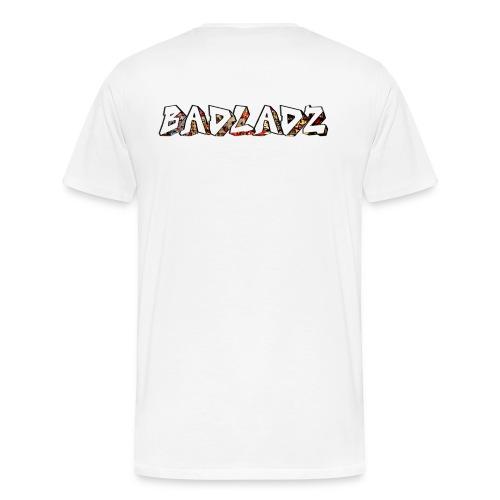 Mens small logo with BADLADZ text on back - Men's Premium T-Shirt