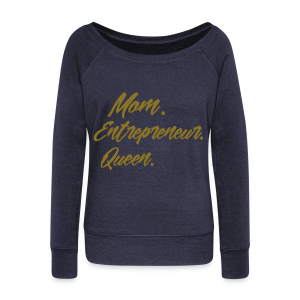All in One (Off the Shoulder Sweatshirt/Navy/Gold) - Women's Wideneck Sweatshirt