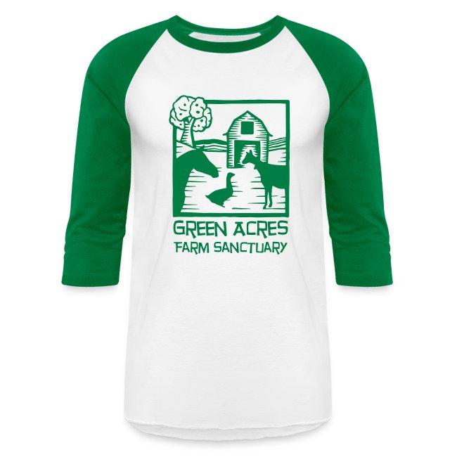 Adult Baseball Tee - Green Logo