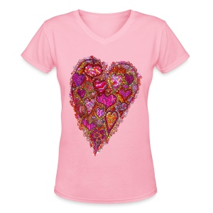 Retro 60's Heart - Women's V-Neck T-Shirt