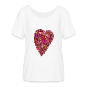 Retro 60's Heart - Women's Flowy T-Shirt