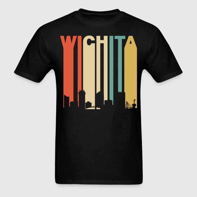 Retro Wichita Kansas Cityscape Downtown Skyline - Men's T-Shirt