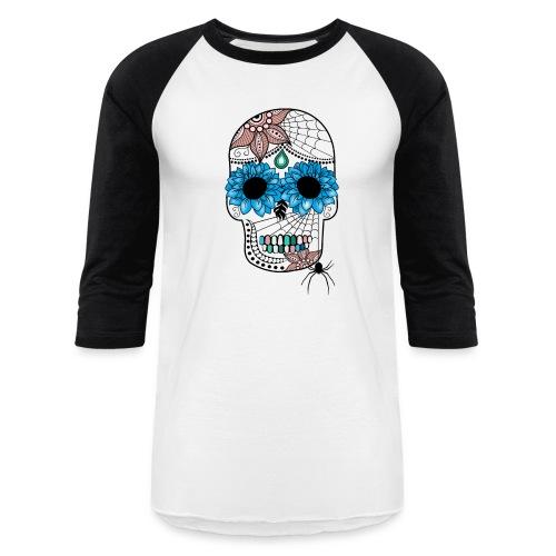 Sugar Skull Baseball T-Shirt from South Seas Tees - Baseball T-Shirt