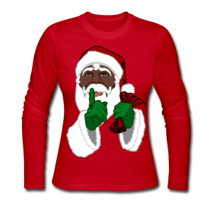 African Santa Shirts Women's Christmas Shirts - Women's Long Sleeve Jersey T-Shirt