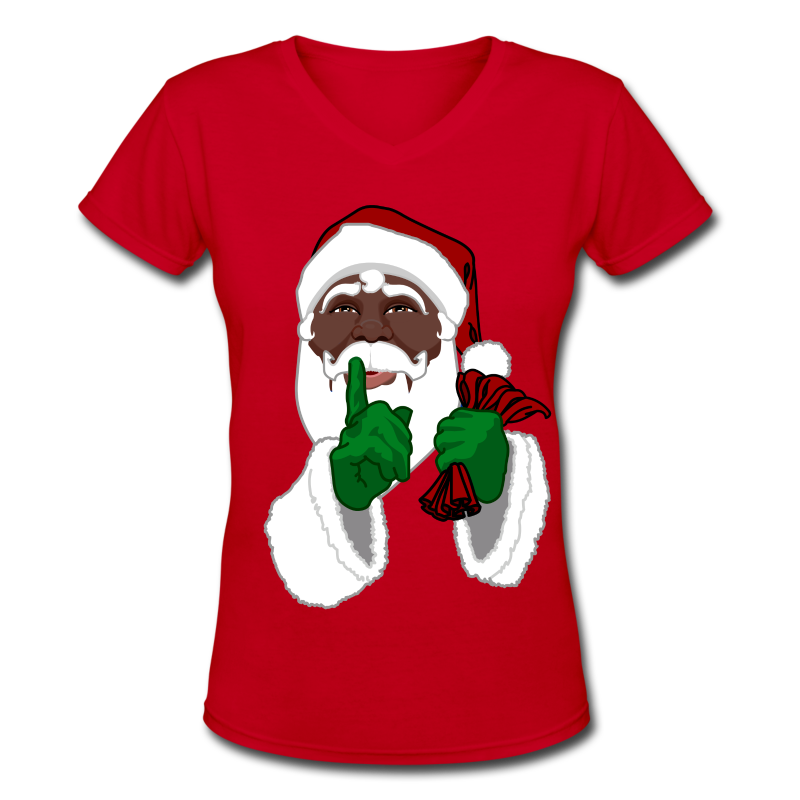 African Santa Clause Shirts Women's Christmas Shirts - Women's V-Neck T-Shirt