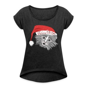 Christmas Kitty Women´s Rolled Sleeve Boxy T-Shirt from South Seas Tees - Women's Roll Cuff T-Shirt