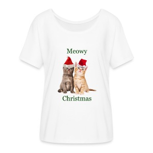 Meowy Christmas Kitten Shirt - Women's Flowy T-Shirt