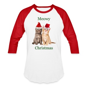 Meowy Christmas Kitten Shirt - Baseball T-Shirt