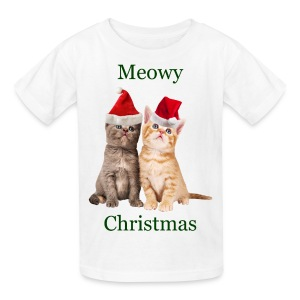 Meowy Christmas Kitten Shirt - Kids' T-Shirt
