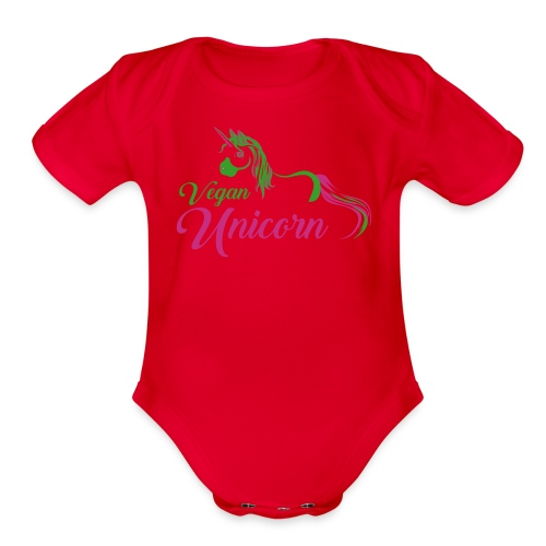 Vegan Unicorn - Short Sleeve Bodysuit for Babies - Organic Short Sleeve Baby Bodysuit