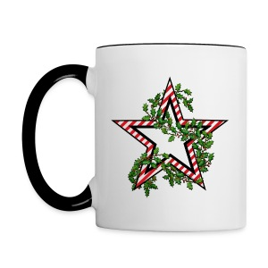 Army Christmas Mugs - 2 Color - Candy Cane Star - Art both sides - Contrast Coffee Mug