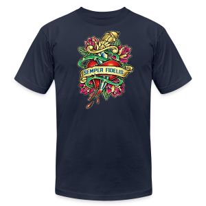 Men's Fine Jersey T-Shirt - Great airbrush style tattoo design of thorned golden dagger through the heart with latin Semper Fidelis meaning Always Faithful - the Glorious Charge of Thee US Marine Corps. Get some...oohrah!