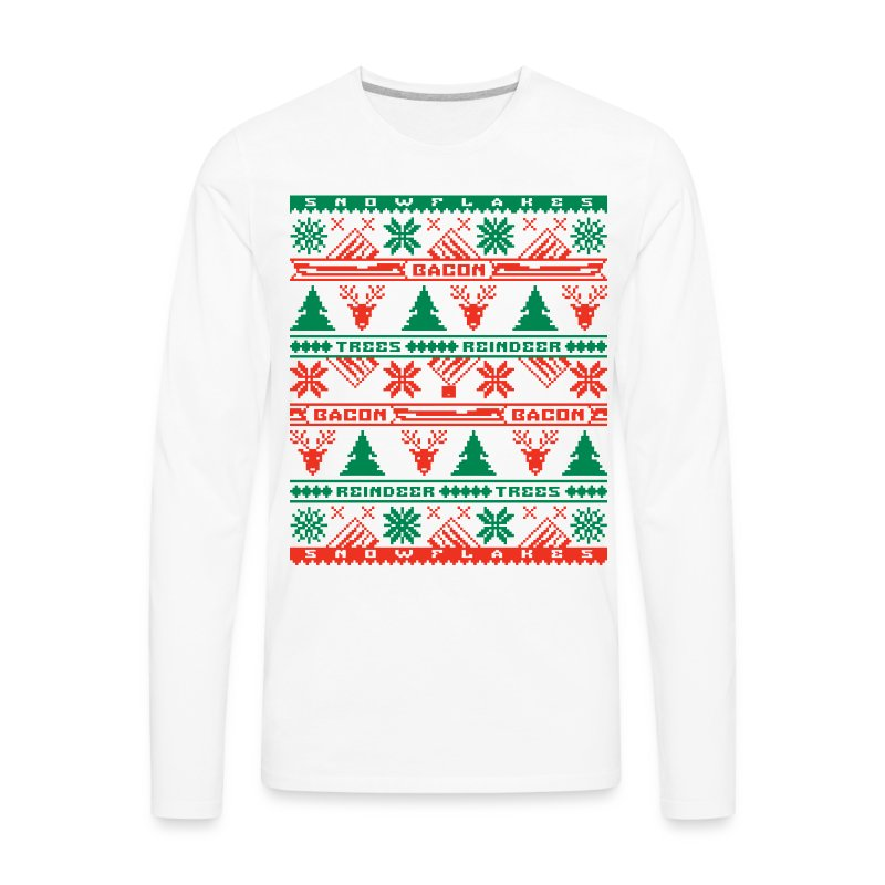 Bacon Ugly Sweater Men's Premium Long Sleeve T-Shirt - Men's Premium Long Sleeve T-Shirt