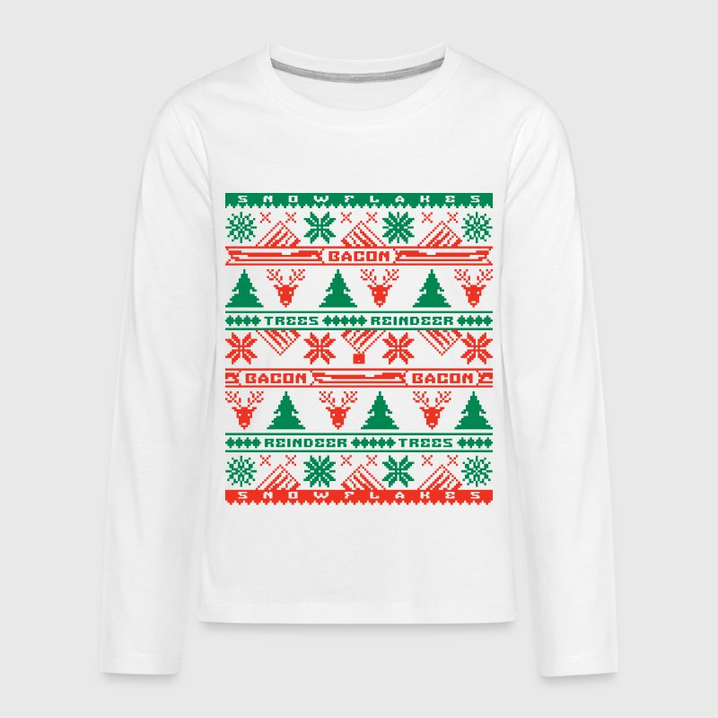 Bacon Ugly Sweater Kids' Premium Long Sleeve T-Shirt - Kids' Premium Long Sleeve T-Shirt