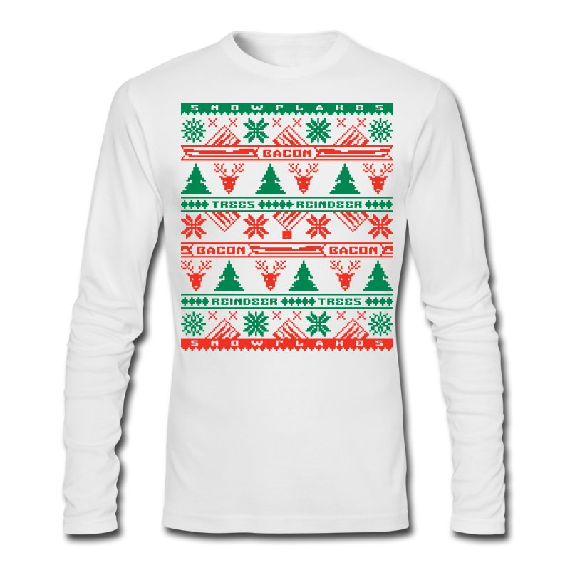 Bacon Ugly Sweater Men's Long Sleeve T-Shirt by Next Level - Men's Long Sleeve T-Shirt by Next Level
