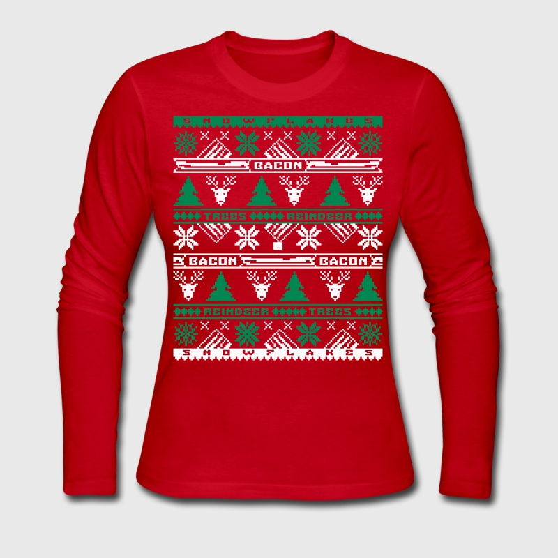 Bacon Ugly Sweater Women's Long Sleeve Jersey T-Shirt - Women's Long Sleeve Jersey T-Shirt