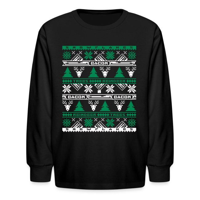 Bacon Ugly Sweater Kids' Long Sleeve T-Shirt