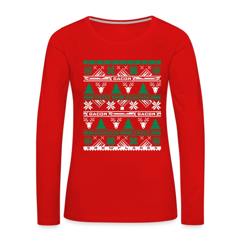 Bacon Ugly Sweater Women's Premium Long Sleeve T-Shirt - Women's Premium Long Sleeve T-Shirt