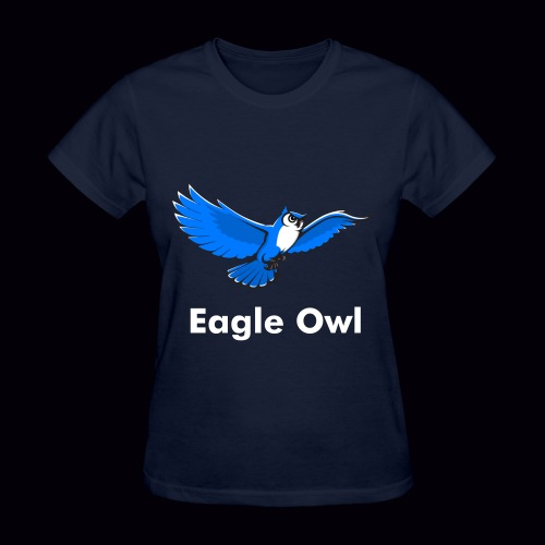 Eagle Owl Women's T-Shirt [White Custom Text]  - Women's T-Shirt