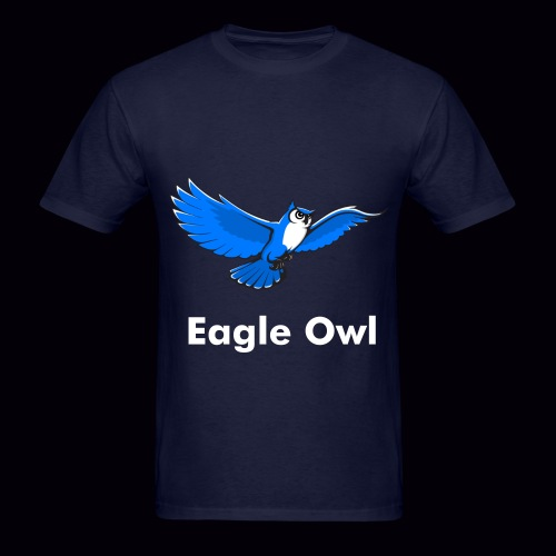 Eagle Owl Mens T-Shirt [White Custom Text]  - Men's T-Shirt