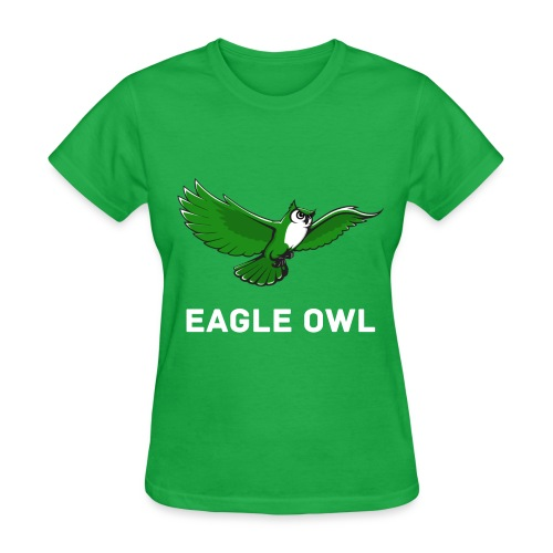Green Owl Flying Womens T-Shirt - Women's T-Shirt