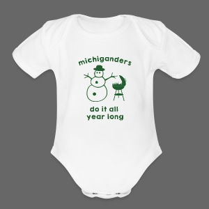Michiganders do it all year long - Short Sleeve Baby Bodysuit