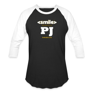 PJ Letters & SmileAttire Logo - Black & White Long Sleeve Shirt (Men) - Baseball T-Shirt