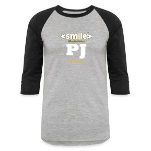 PJ Letters & SmileAttire Logo - Heather Gray & Black Long Sleeve Shirt (Men) - Baseball T-Shirt