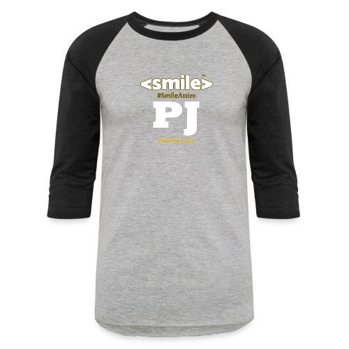 PJ Letters & SmileAttire Logo - Heather Gray & Black Long Sleeve Shirt (Women) - Baseball T-Shirt