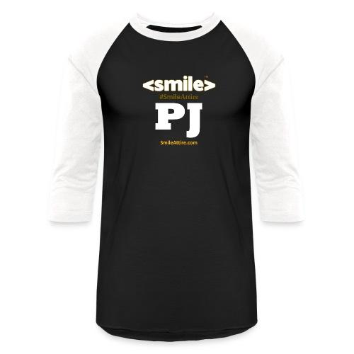 PJ Letters & SmileAttire Logo - Black & White Long Sleeve Shirt (Women) - Baseball T-Shirt