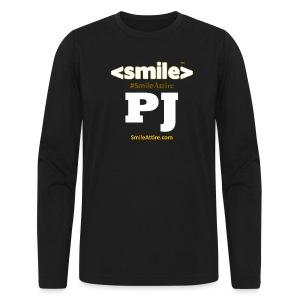 PJ Letters & SmileAttire Logo - Double Sided Black Long Sleeve Shirt (Men) - Men's Long Sleeve T-Shirt by Next Level