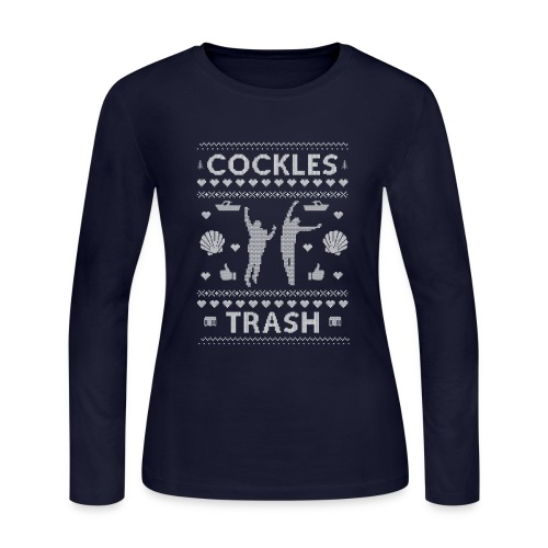 Cockles Trash XMAS Sweater White WOMEN'S - Women's Long Sleeve Jersey T-Shirt