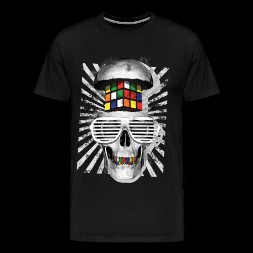 Rubik's Cube Skull With Sunglasses - Men's Premium T-Shirt