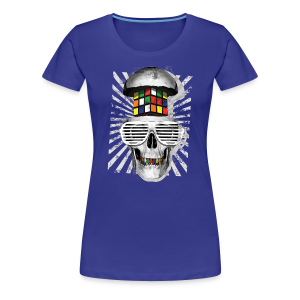 Rubik's Cube Skull With Sunglasses - Women's Premium T-Shirt