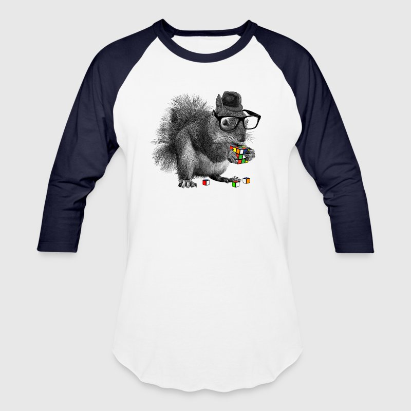 Rubik's Cube Hipster Squirrel - Baseball T-Shirt