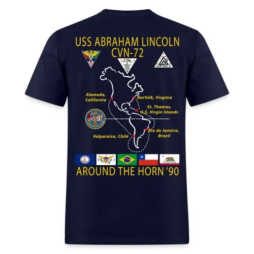 USS ABRAHAM LINCOLN CVN-72 AROUND THE HORN 1990 CRUISE SHIRT - Men's T-Shirt