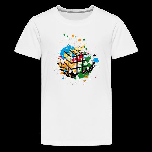 Rubik's Cube Colour Splatters - Kids' Premium T-Shirt