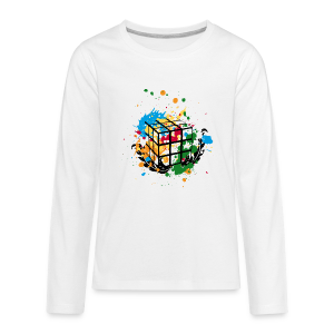 Rubik's Cube Colour Splatters - Kids' Premium Long Sleeve T-Shirt
