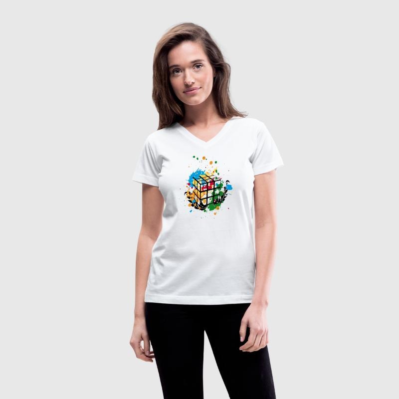 Rubik's Cube Colourful Splatters - Women's V-Neck T-Shirt