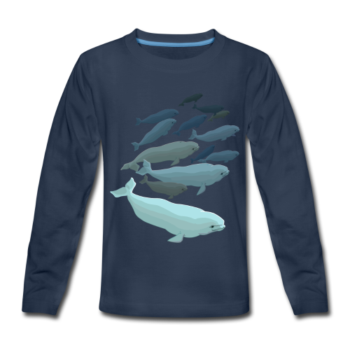 Beluga Whale T-shirts Kid's Whale Art Long Sleeve - Kids' Premium Long Sleeve T-Shirt