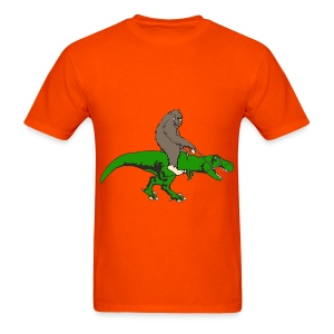 Bigfoot riding T rex - Men's T-Shirt