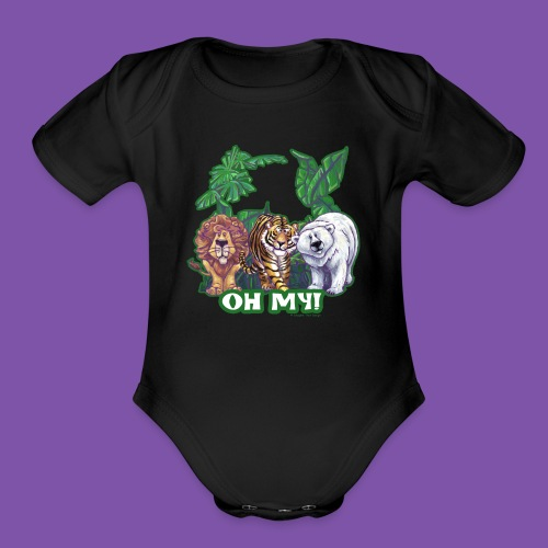Animal Parade Lion Tiger and Bear Oh My - Organic Short Sleeve Baby Bodysuit