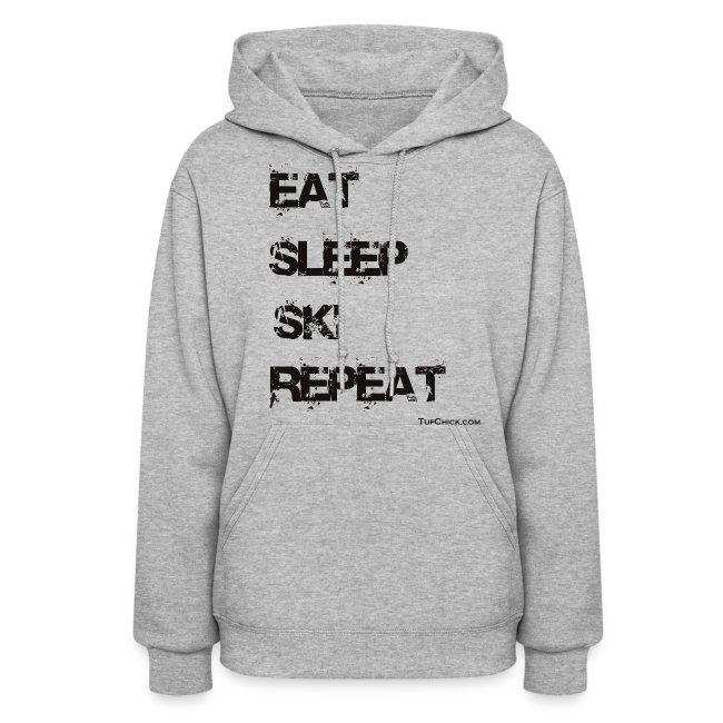 Eat Sleep Ski Repeat Women's Hoodie - bw